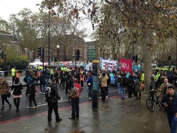 RT @TheAngleNews: Demonstration beginning to leave Temple and march down he embankment: #demo2012 http://pic.twitter.com/PuSKKHBN