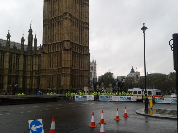 RT @Phil_Baty: #demo2012 Route blocked to Parliament Square. Pic via @higherbaker: http://pic.twitter.com/H9CyXPbN