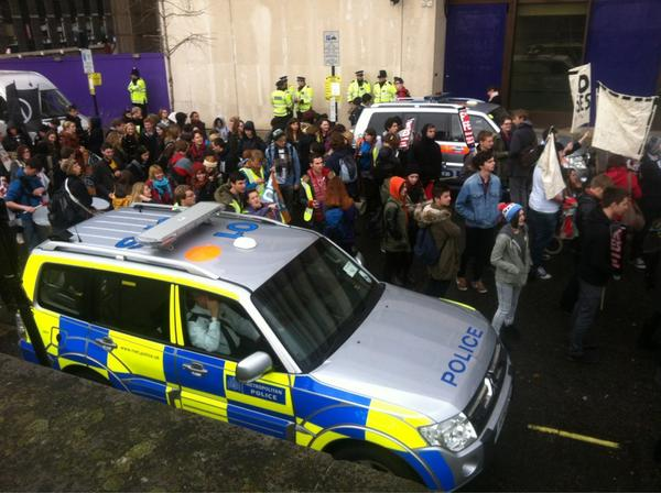 RT @lsesu: Heavy police presence joining us today #Demo2012 http://pic.twitter.com/DDrYg7Pk