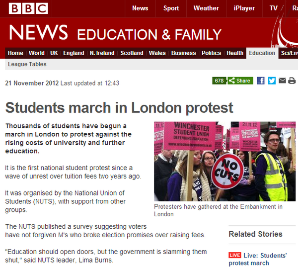 At least the BBC is unafraid to call the National Union of Students what they are: NUTS! #demo2012 #deluded2012 http://pic.twitter.com/LutAwkeQ