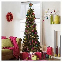 Christmas tree with pink, blue and gold decorations