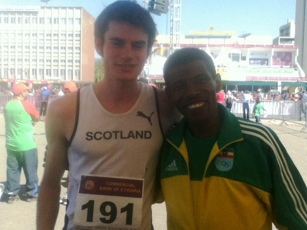 RunBalmoral champs Robbie Simpson+Morgan Windram-Geddes meet Haile Gebreselasie after competing in the Gt Ethiopian10K