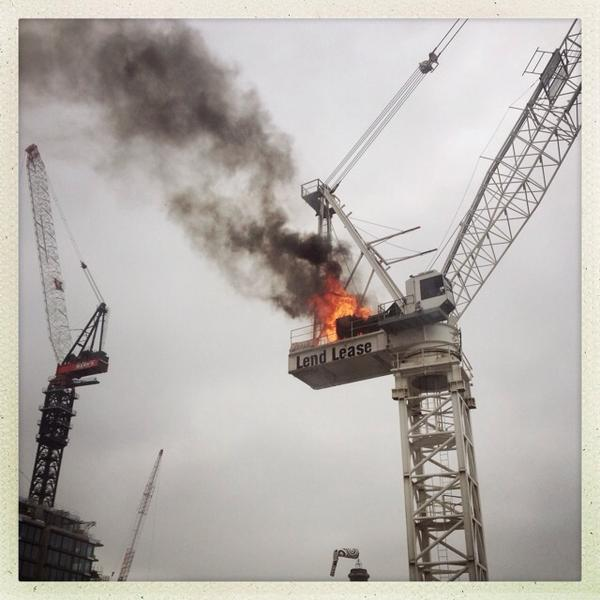 Crane fire at new frank gearie  building site ultimo. http://pic.twitter.com/7fi8hb6o