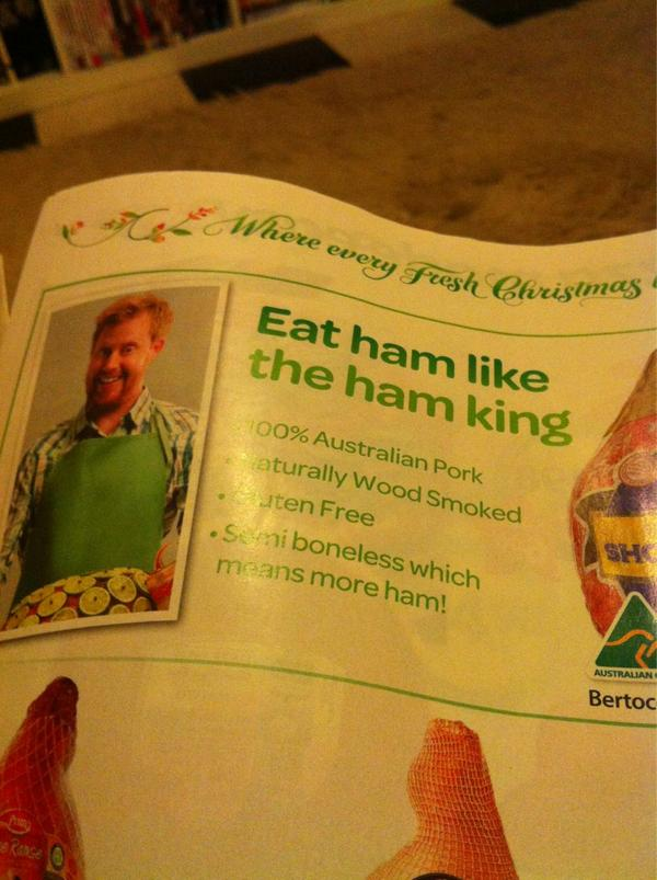 Has Woolies tried to introduce a 'character' called 'the ham king'? I've seen this ginger instore in standee form. http://pic.twitter.com/wtG4KEft