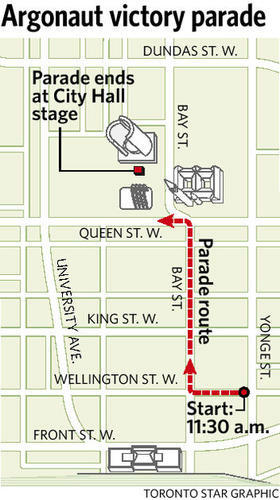 #Argos Parade route map for today - nice to have a winning team in TO again, eh Leaf Fans! » http://pic.twitter.com/sjxVmVKt