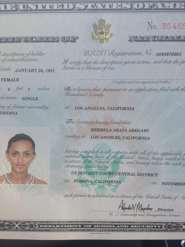 Hermela Aregawi On Twitter Official Certificate Of Naturalization