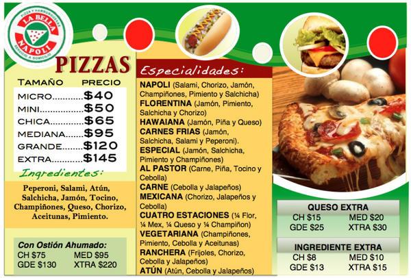 La Bella Napoli ٹوئٹر پر Menú De Pizzas Para Cuando