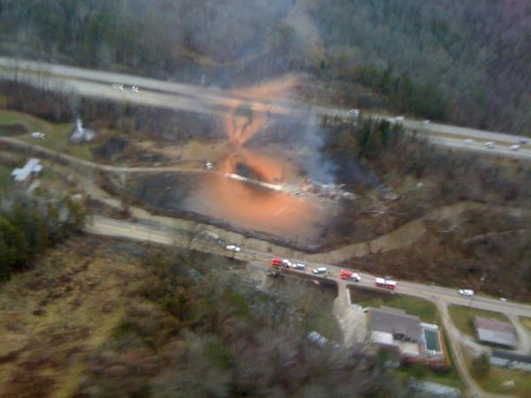 Picture taken by Secretary Paul Mattox from above the explosion site.  You can see how the fire moved across I-77. http://pic.twitter.com/cCTwumUJ