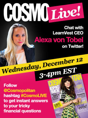 Today: Ask http://LearnVest.com CEO @alexavontobel your trickiest financial questions, live at 3pm. #CosmoLIVE http://pic.twitter.com/DDavFJFp