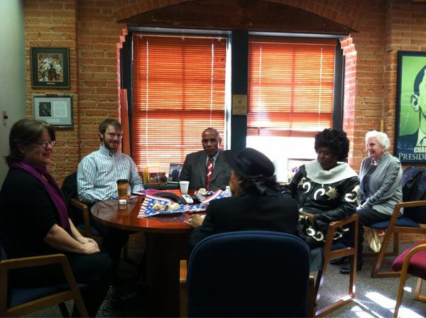 Hosting community members to listen to the local leaders call with President Barack Obama. #my2k http://pic.twitter.com/X0In76k8