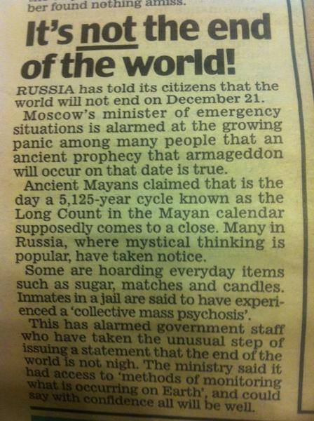 Aww Russia panicked so much about the world ending it had to be announced to them that it wouldn't! #INeedThat #Scared http://pic.twitter.com/aRA5yLuN