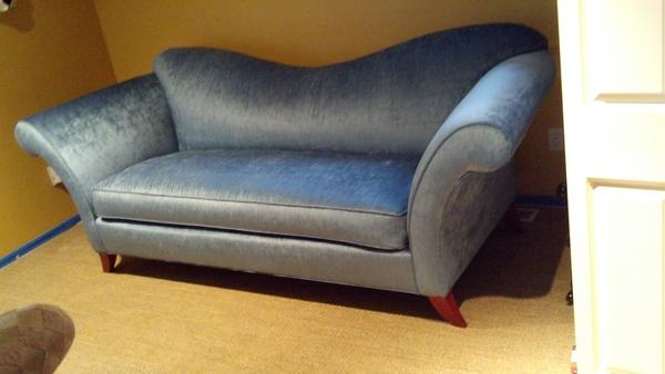 Cutting Edge On Twitter Reverse Camel Back Sofa Covered In A Beautiful Blue Chenille Http T Co Iykrjq9q