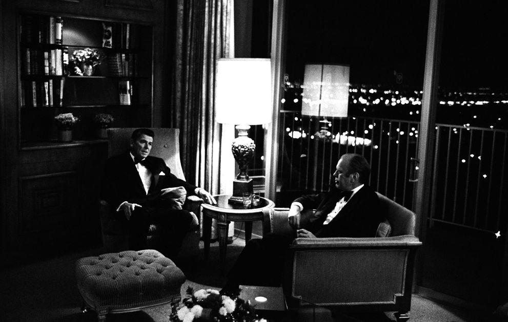 President Gerald Ford, former-Gov. Ronald Reagan, October 31, 1974, Century Plaza