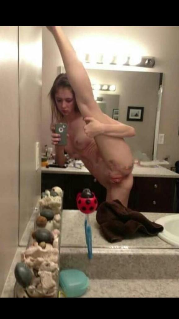 Naked teen thong selfie