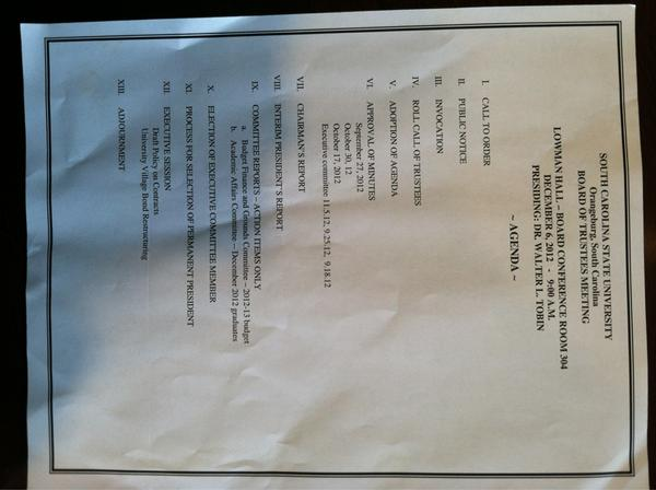 Here's the #SCSU agenda. On interim prez report now, $6M budget cut vote coming up next. http://pic.twitter.com/87s2g59x