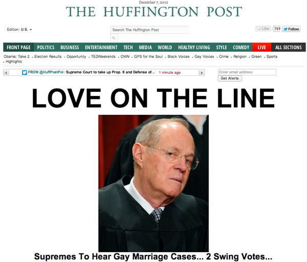"""LOVE ON THE LINE"" as Supremes hear gay marriage cases. Great splash @quasimado http://huff.to/lBOS8j http://pic.twitter.com/rvES45aQ"