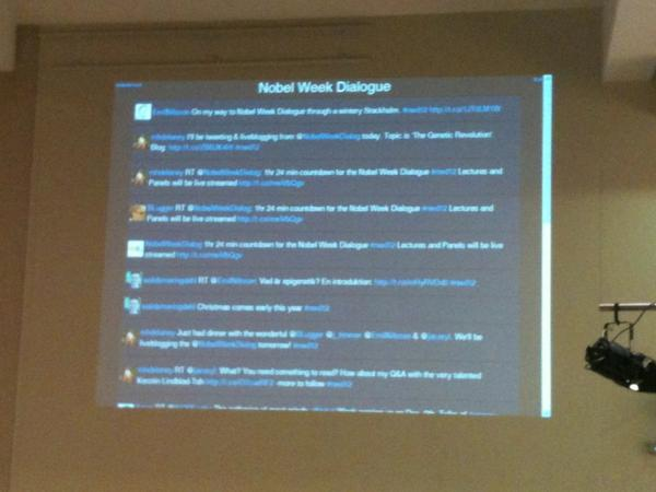 Twitterstream for the Nobel Week Dialogue in the Hall. Hashtag is  #nwd12 http://pic.twitter.com/KSWkS4q6
