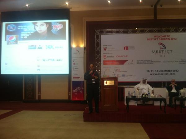 The start of Social Media Bussiness Drive Session by Mr.Amr Selim - Board Bember of Bahrain internet Society #meetict http://t.co/zZB3YOYF