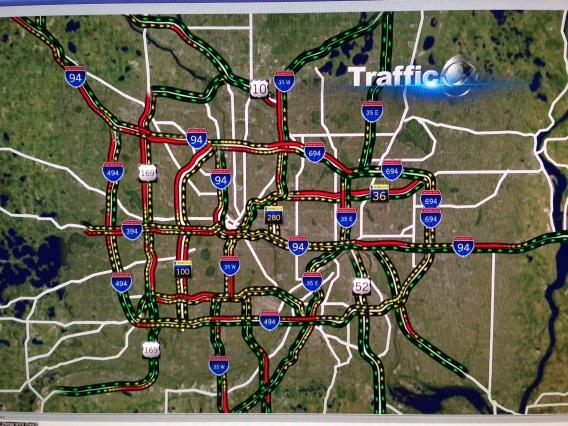 This traffic map needs some ointment. That's a lot of red! (<10 mph). Good chance you'll be late to work today #mnwx http://pic.twitter.com/7KdRSwdR