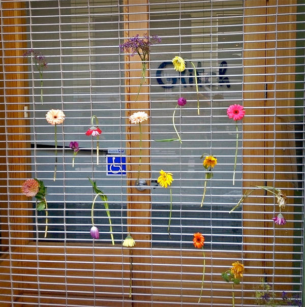 Flowers tucked into the grate outside our SF office overnight, discovered this morning. Thank you! http://t.co/XaJgzY6x