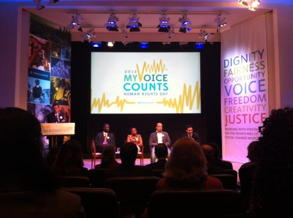 #HumanRightsDay My #VoiceCount panel Cheney Torrilus @PaulineWanja @GhostyMaher & @jeremyheimans @FordFoundation. http://pic.twitter.com/UFfPvakd