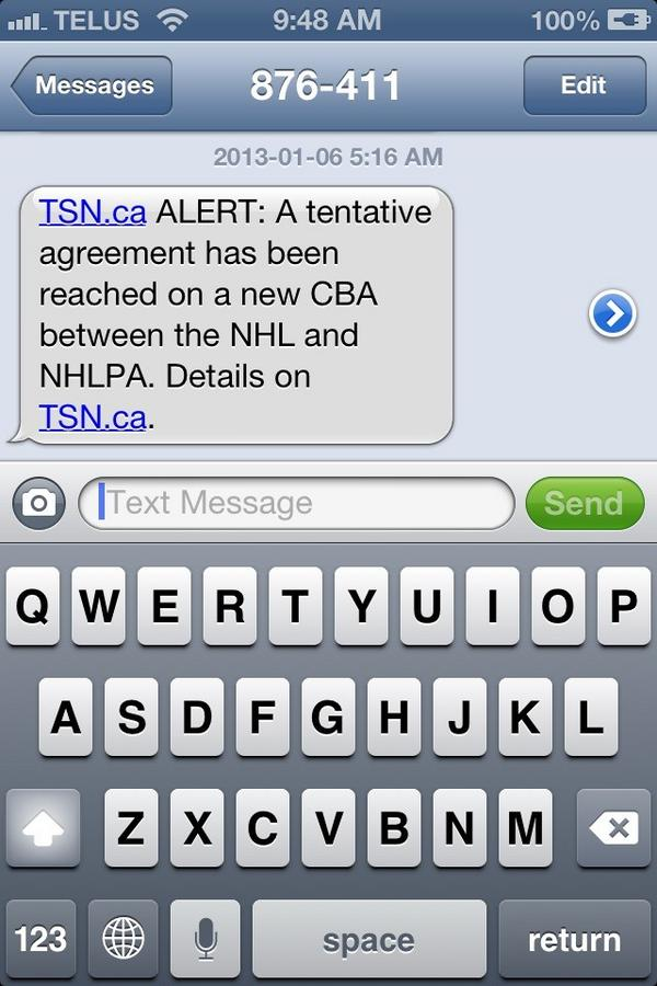 Best text to wake up to this morning #nhl #lockout #dropthepuck http://pic.twitter.com/Y7Tb3BiN