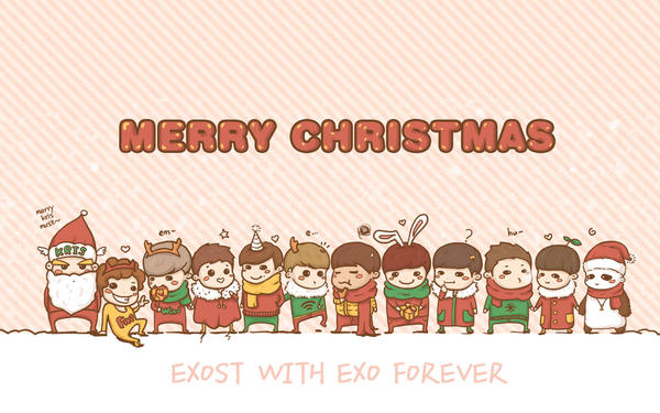 Papergirl on twitter exostexo merry krismas exost sends papergirl on twitter exostexo merry krismas exost sends holiday greetings here again with this cute exo cartoon wallpaper httptyrxrot7h m4hsunfo