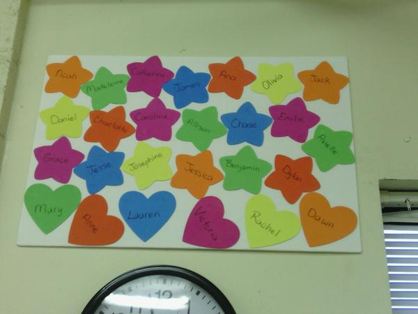 Hanging in my classroom. 20 stars, 6 hearts. Reason for my #26acts and more. http://pic.twitter.com/48GXZ5zi
