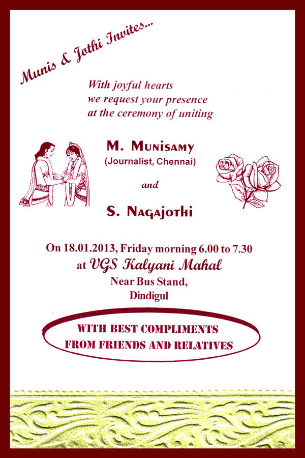 Munisamy M On Twitter My Wedding Invitation Please Accept It As A