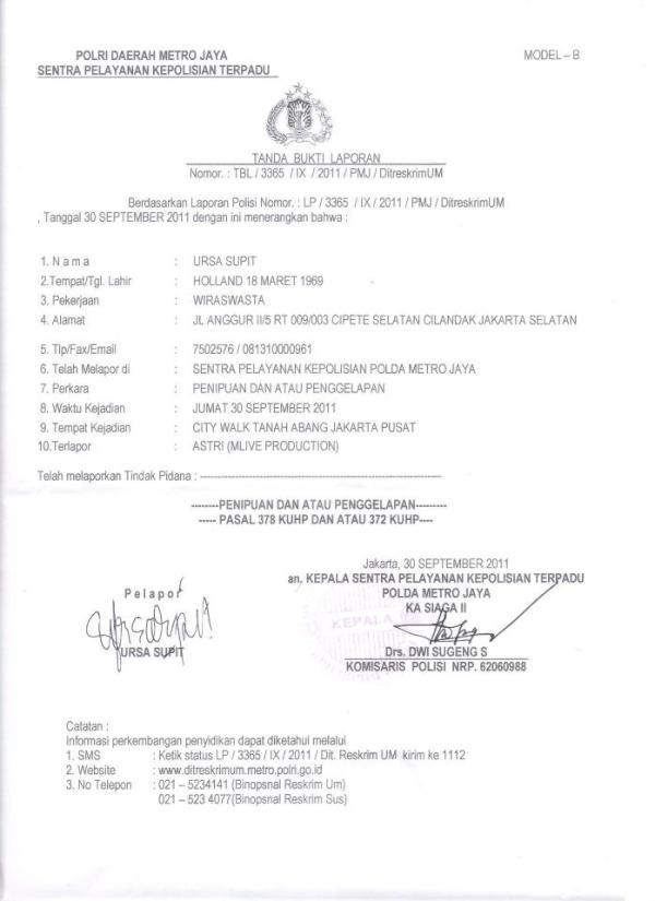 Shinta Effendi Pa Twitter Surat Laporan Ke Polisi Penipuan