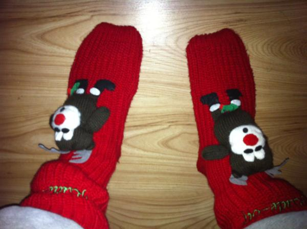 Heating on full whack, The Santa Clause on DVD and a mint hot chocolate... Must be time for #christmassocks :D x