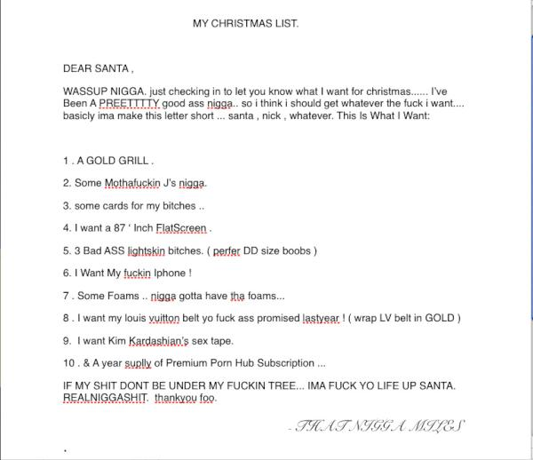 underdog on twitter my christmas list to that nigga santa httptco72eptqdn - My Christmas List