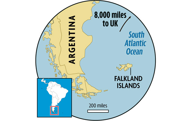 Distance between UK and Falkland Islands (London Mirror)