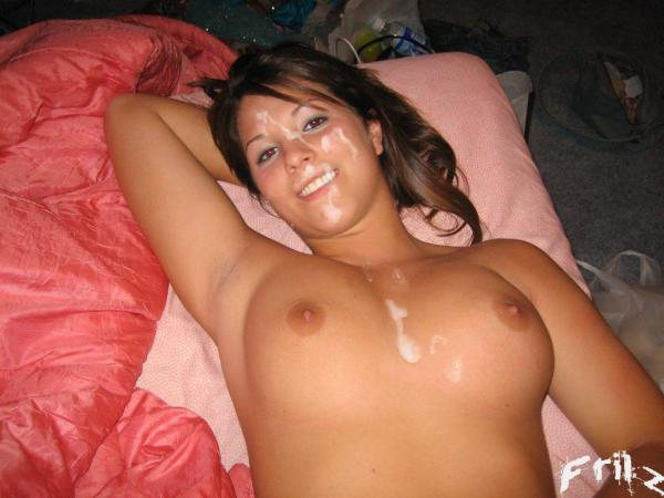 Cumshot covered belly to face remarkable
