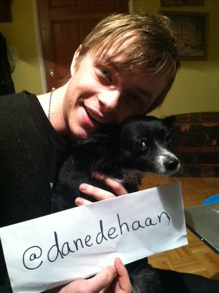 Photo of Dane DeHaan & his  Dog Franny