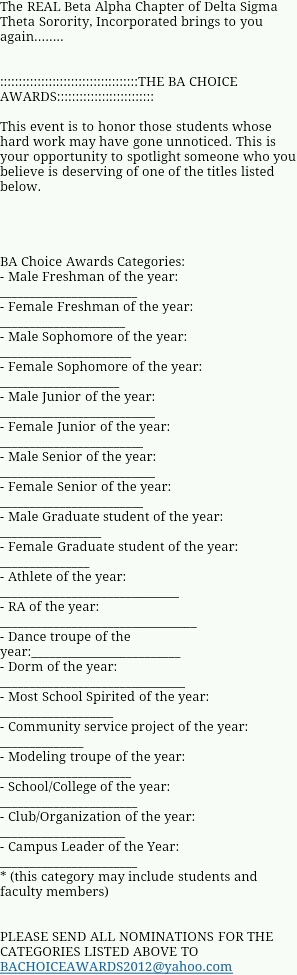 BA Choice Awards are BAck! Nominate Famu students for the following categories!!! http://t.co/aS8Sb3rC