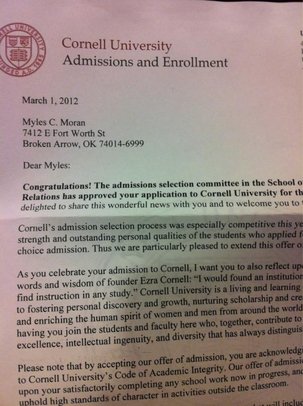 cornell acceptance essays Interested in applying to cornell the cornell supplemental essays have been released for the 2014-2015 college admissions cycle and we've got them for our readers.