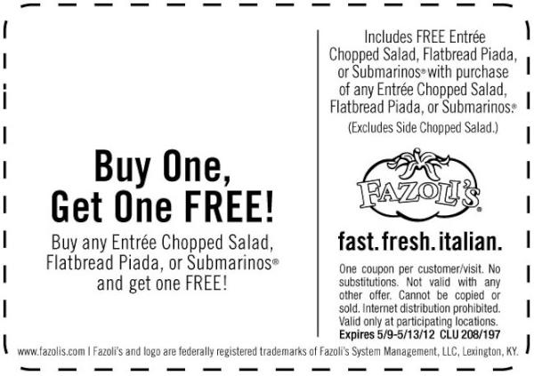 Fazoli's coupon code
