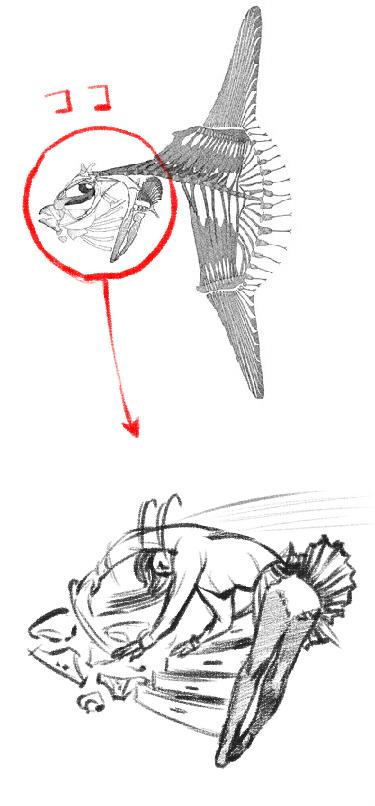 まんぼう骨格の頭部が、お気に入りのパンツが見つからなくてタンス引っ掻き回してる女子高生にしか見えない。
