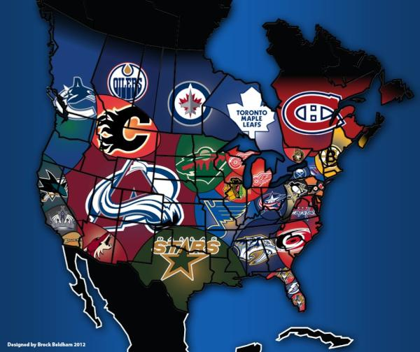 """nhl fan distribution map"" for North America 