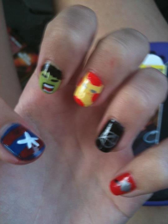 One of the lesser ones I've done but it was just for fun. Avengers nails. #beautytips #beautyforher pic.twitter.com/0tjzcppM