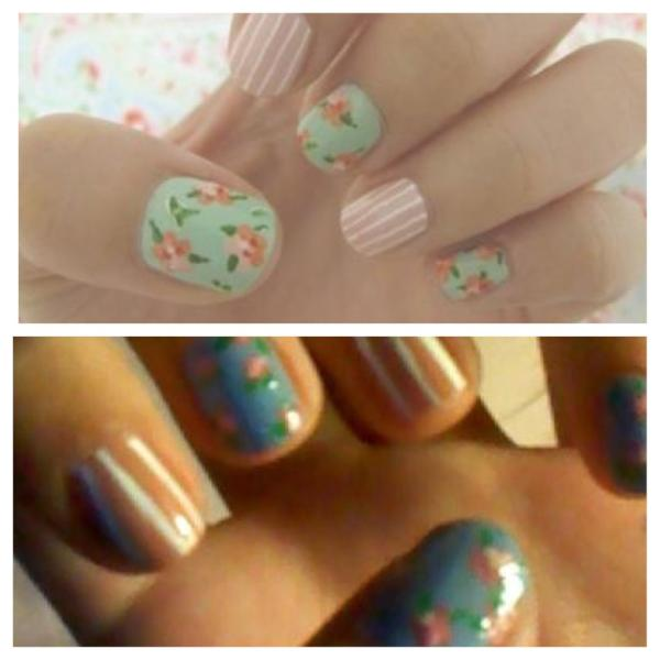 Floral and stripes. So easy! Push a straight pen in an eraser to make a polka dotter. Dots just like salons give.pic.twitter.com/1TnfkBW1