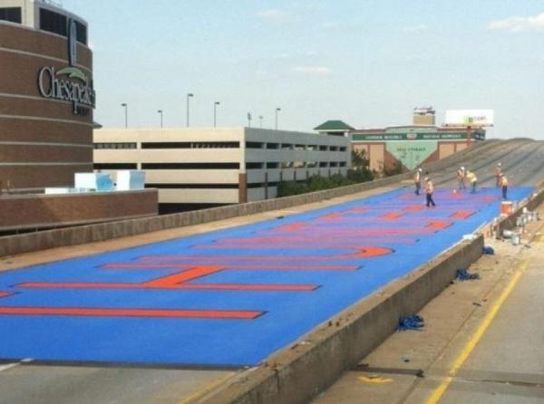 Nice RT @USATODAYsports: Oklahoma City is painting 'Thunder Up' on the highway outside Chesapeake Energy Arena http://t.co/QDoaqMXf