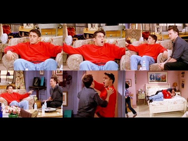 Image result for joey knows about chandler and monica