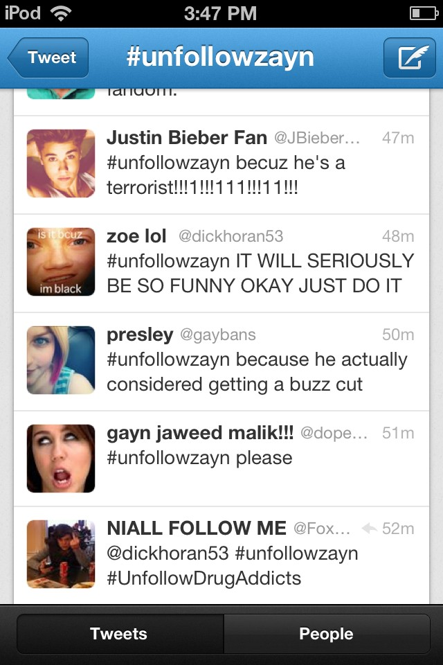 #unfollowzayn OMG, immature little children who have nothing better to do. Words freaking hurt okay? Stop. http://t.co/fB8wfXw8