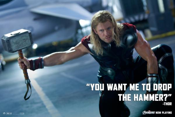 the avengers on twitter you want me to drop the hammer thor