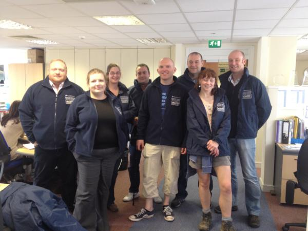 The @nationalrailenq team are kitted out and ready to go! Still time to donate: http://bit.ly/Osyln9 #NRE24Peaks