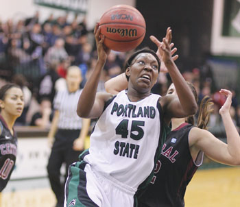 Portland State University forward Stephanie Egwuatu excels on the basketball court~!!!!. http://t.co/YdQ1SESn