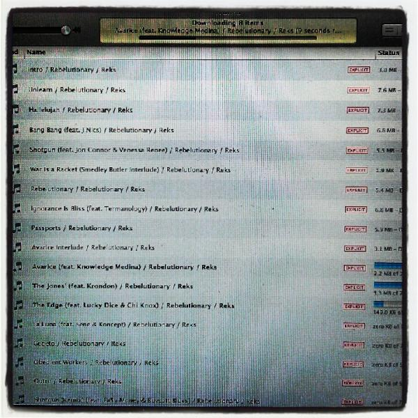 New @therealreks album out now on itunes, go get it! Support good music, its rare! #rebelutionary http://t.co/4muqxB8p