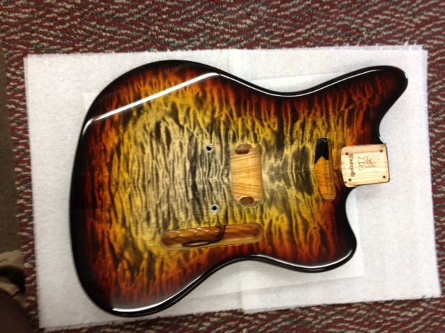 warmoth guitar parts on twitter here 39 s a cool bengal burst jazzcaster getting ready to head. Black Bedroom Furniture Sets. Home Design Ideas